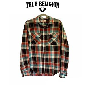 True Religion red teal plaid check flannel fleece button down shirt size 8